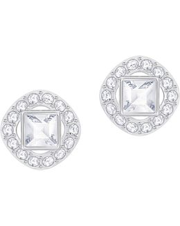 Angelic Silvertone Square Stud Earrings