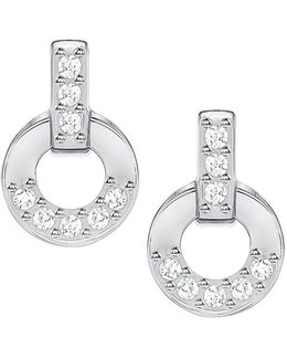 Circle Silvertone Stud Earrings