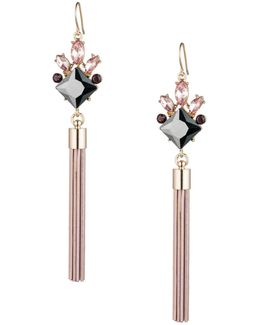 Make Me Blush Square Stone Spray Tassel Drop Earrings
