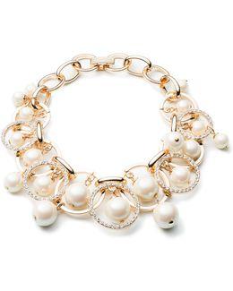 Majestic Faux Pearl Shakey Links Bracelet