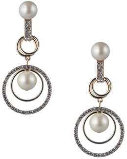 Majestic Faux Pearl Orbital Clip Chandelier Earrings