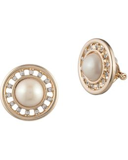 Majestic Faux Pearl Button Clip Earrings