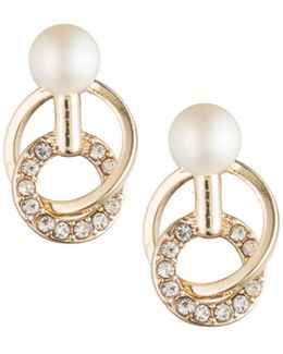 Majestic Faux Pearl Links Stud Earrings