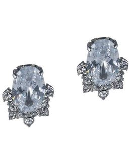Imperial Sky Oval Cluster Clip Earrings