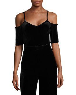 Velvet Off-the-shoulder Body Suit