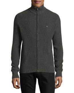 Long Sleeve Cotton Zip Sweater