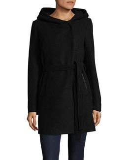 Wool-blend Boucle Hooded Jacket With Belt