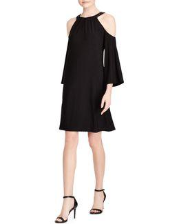 Pansy Sequined-trim Jersey A-line Cold Shoulder Dress