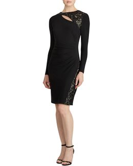 Inditha Sequined-trim Jersey Sheath Dress