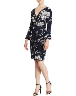 Elsietta Floral Bell Sleeve Sheath Dress