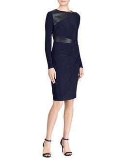 Celeste Faux-leather Trim Jersey Sheath Dress