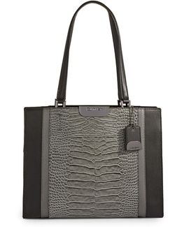 Croco-embossed Leather Tote