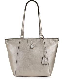 Pebbled Leather Tote With Padlock