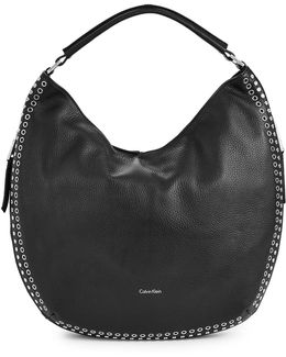 Studded Leather Hobo Bag