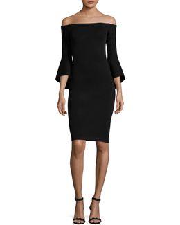Off-shoulder Bell Sleeve Bodycon Dress