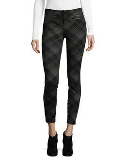 Zip-trim Plaid Skinny Pants