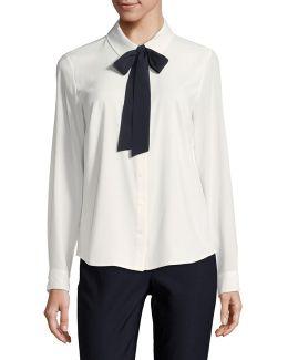 Contrast Tie Shirt