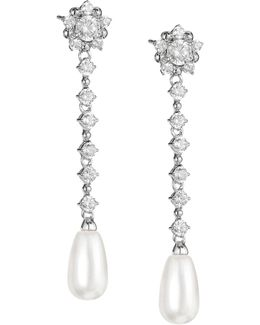 Faux Pearl Linear Drop Earrings