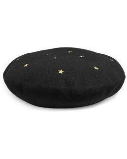 Star Patterned Wool Beret