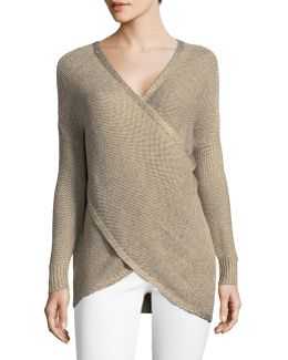 Surplice Long-sleeve Sweater