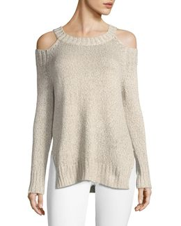 Cold-shoulder Breton Sweater