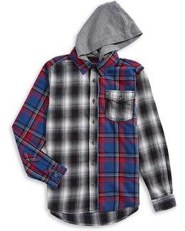 Hooded Flannel Sport Shirt