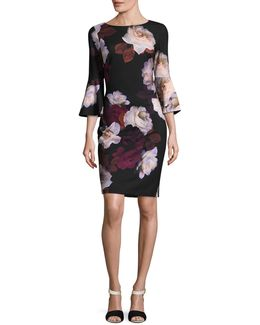Graphic Floral Print Shift Dress