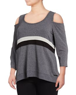 Plus Tri-tone Cold Shoulder Top