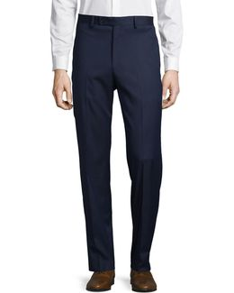 Flat Front Checked Trousers