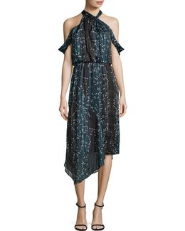 Print Drape Neck Dress