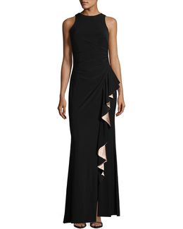 Satin Ruffle Sheath Gown