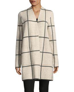 Long Wool Blend Check Print Cardigan