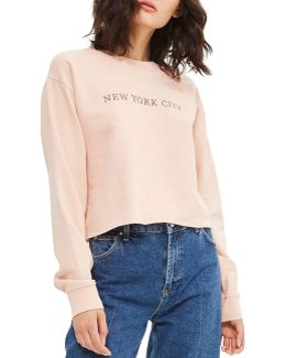 Petite Nyc Embroidered Sweatshirt