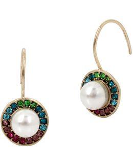 White Pearl Multicolored Drop Earrings