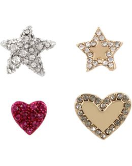 Crystal Heart & Star Earring Set