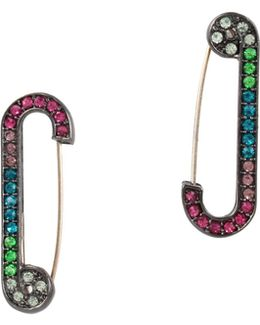 Multicolor Safety Pin Drop Earrings