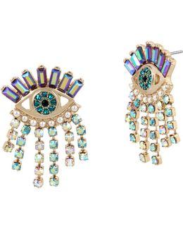 Evil Eye & Fringe Drop Earrings
