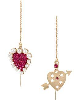 White Pearl & Heart Drop Earrings