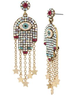 Multi-stone Hamsa Drop Earrings