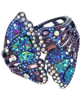 Metallic Butterfly Wing Hinged Cuff Bracelet