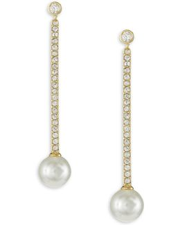 Precious Pearls Goldplated Linear Earrings