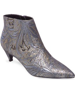 Metallic Brocade Kitten Heel Booties