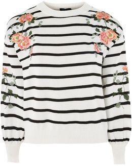 Embroidered Stripe Sweatshirt