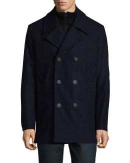 Wool-blend Peacoat With Ribbed Gilet