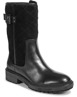 Layla Leather And Suede Mid-calf Boots