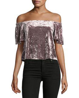 Velvet Off-the-shoulder Top