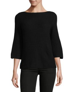 Petite Ribbed Bell Sleeve Sweater