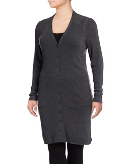 Plus Ribbed Wool Duster Cardigan