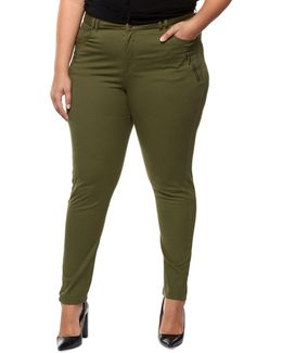 Plus Zip Detail Skinny Pants