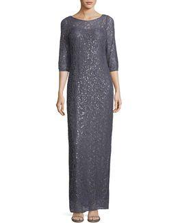 Sequined Soutache Lace Gown